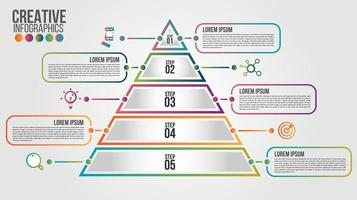 Pyramid infographic, colorful template with 5 steps vector