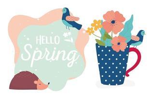 hola banner de celebración de primavera