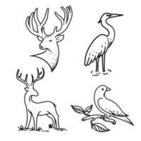 conjunto de animales de arte lineal vector