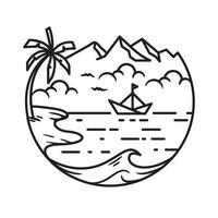 playa y olas, diseño de arte lineal