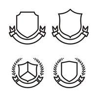 conjunto de escudo en blanco, diseño de arte lineal vector