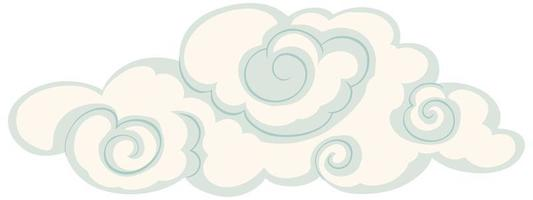 Isolated cloud in chinese style vector