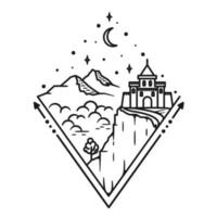 Mountain and castle, line art design