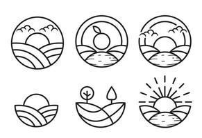 Simple line art farm element templates
