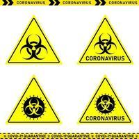 colección de señales de peligro de coronavirus