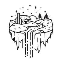 Farm and waterfall, line art design