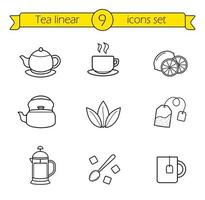 Tea, linear icons set vector