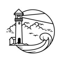 Lighthouse line art design for coloring vector