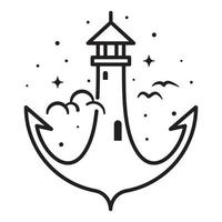Lighthouse and anchor line art design vector