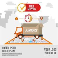 Fast delivery and shipping online app vector