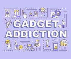 Gadget addiction concept banner vector