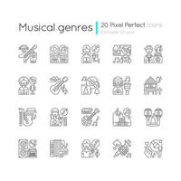 géneros musicales, conjunto de iconos lineales