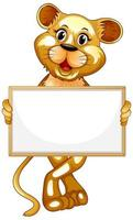 Blank sign with cute tiger on white background