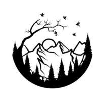 diseño simple de montaña y bosque vector