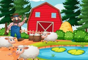 Farmer in farm scene