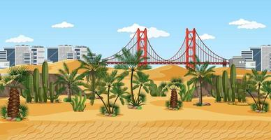 Town in desert nature landscape scene vector