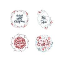 Collection of hand drawn round Christmas wreaths with xmas text