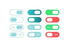 Colourful switches, UI elements kit vector