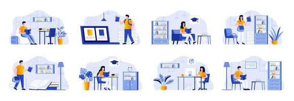 Education scenes bundle with people