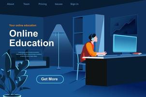 Online education isometric landing page vector