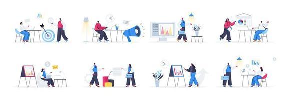 paquete de escenas de agencias de marketing vector
