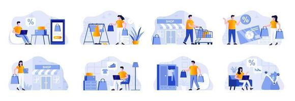 Shopping scenes bundle with people vector