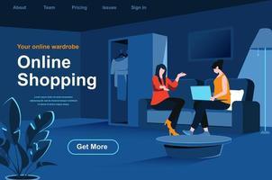 página de inicio isométrica de compras en línea vector