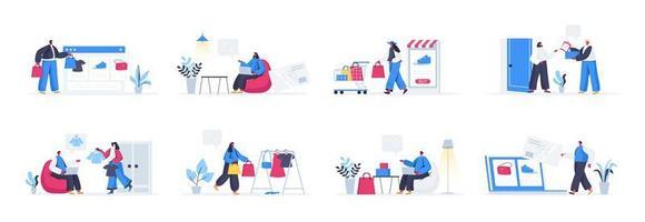 Bundle of shoppers scenes vector