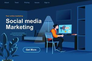 Social media marketing isometric landing page.