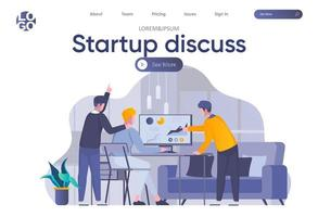 Startup discuss landing page with header