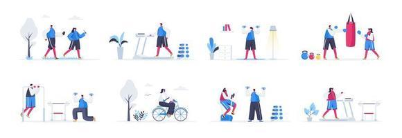 Bundle of fitness training scenes