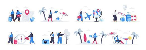 paquete de escenas de viajes y vacaciones. vector