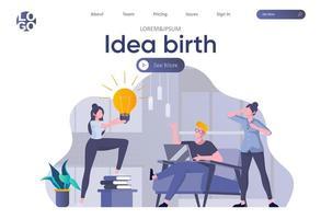 Idea birth landing page with header