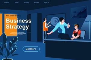 Business strategy isometric landing page