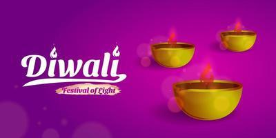 plantilla de diseño de diwali púrpura vector