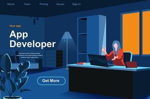 página de inicio isométrica de desarrollo de aplicaciones vector