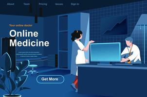 página de inicio isométrica de medicina en línea vector