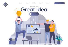 página de inicio de gran idea con encabezado vector