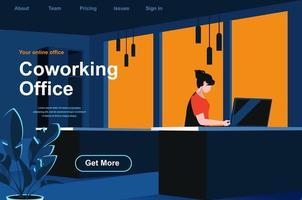 página de inicio isométrica de la oficina de coworking vector