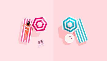 Summer vacation concept with girl on deck chair vector