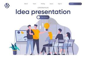 página de inicio de presentación de ideas con encabezado vector