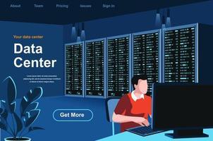 página de inicio isométrica del centro de datos vector
