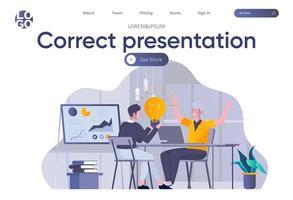 página de inicio de presentación correcta con encabezado vector