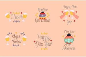Happy New Year Badges Pack vector