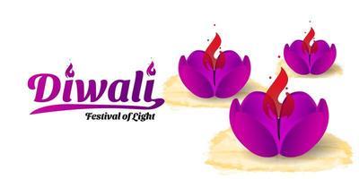 Diwali con diseño de lámpara diya rosa vector