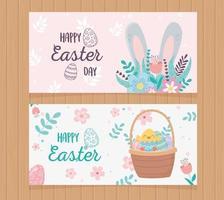 Easter Day celebration banner set vector