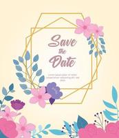 Elegant floral wedding card template vector