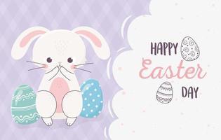 feliz celebración de banner de pascua con conejito y huevos vector