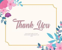 Elegant floral Thank You card template vector