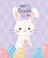 feliz celebración del día de pascua con conejito y huevos vector